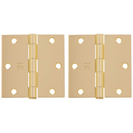 National Hardware S821-207 S082-060 Stanley Door Hinges 3-1/2 Inch Square Corner Polished Brass 2 Pack