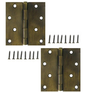 National Hardware S821-223 S808-436 Stanley 4 Inch Square Corner Door Hinges Antique Brass 2 Pack