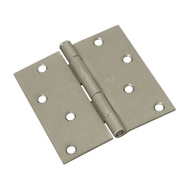 National Hardware S821-256 Stanley Door Hinges 4 Inch Square Corner Satin Nickel 2 Pack