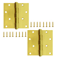 National Hardware S821-280 Stanley Door Hinges 4 Inch Square Corner Polished Brass 2 Pack