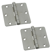 National Hardware S821-371 Stanley 3-1/2 Inch 1/4 Radius Door Hinges Satin Chrome 2 Pack