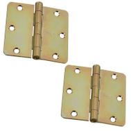 National Hardware S821-389 Stanley Door Hinges 3-1/2 Inch 1/4 Radius Brass Tone 2 Pack
