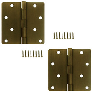 National Hardware S821-439 S083-402 Stanley 4 Inch 1/4 Radius Door Hinges Antique Brass 2 Pack