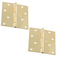 National Hardware S821-470 Stanley 4 Inch 1/4 Radius Door Hinges Polished Brass 2 Pack