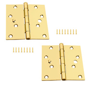 National Hardware S821-520 Stanley Security Stud Door Hinges 4 Inch Square Corner Satin Brass 2 Pack