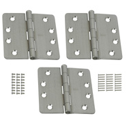 National Hardware S821-546 Stanley Commercial Door Hinges 4 Inch 1/4 Radius Satin Chrome 3 Pack