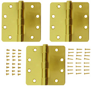 National Hardware S821-553 Stanley Commercial Door Hinges 4 Inch 1/4 Radius Satin Brass 3 Pack