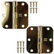National Hardware S821-595 S082-482 Stanley Door Hinges 3-1/2 Inch 5/8 Radius Polished Brass 2 Pack
