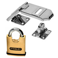 National Hardware S824-284 Stanley Double Hinged Hasp 6-1/4 Inch With 50Mm Solid Brass Security Padlock