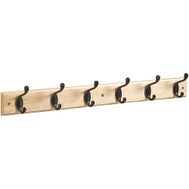 National Hardware S827-089 = S812-982 Hook Rail 27 Inch 6 Oil Rubbed Bronze Hooks Natural Finish Rail