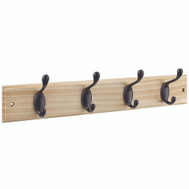 National Hardware S827-139 = S813-022 Hook Rail 18 Inch 4 Oil Rubbed Bronze Hooks Natural Finish Wood Rail