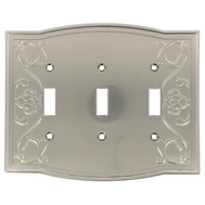 National Hardware S832-501 Stanley Victoria Triple Switch Wall Plate Satin Nickel