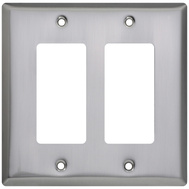National Hardware S832-576 Stanley Basic Double Rocker Or Gfi Wall Plate Satin Nickel