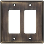 National Hardware S832-600 Stanley Basic Double Rocker Or Gfi Wall Plate Antique Brass