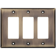 National Hardware S832-840 Stanley Basic Triple Rocker Or GFI Wall Plate Antique Brass