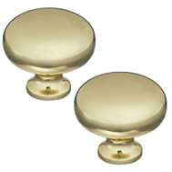 National Hardware S833-541 Stanley Classic Round Cabinet And Drawer Knobs 1-1/4 Inch Bright Brass 2 Pack