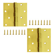 National Hardware S834-598 Stanley Door Hinges 4 Inch Square Corner Satin Brass 2 Pack