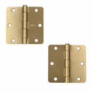 National Hardware S834-614 Stanley 3-1/2 Inch 1/4 Radius Door Hinges Satin Brass 2 Pack