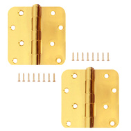 National Hardware S834-622 Stanley 4 Inch 1/4 Radius Door Hinges Satin Brass 2 Pack