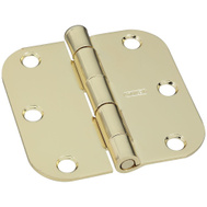 National Hardware S834-739 Stanley Door Hinges 3 Inch 5/8 Radius Polished Brass 2 Pack