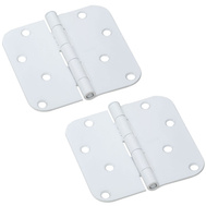National Hardware S863-320 S810-234 Stanley 4 Inch 5/8 Radius Door Hinges White 2 Pack