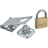National Hardware S399-720 Stanley Zinc Plated Hasp 3-1/2 Inch And 1-1/2 Inch Brass Padlock Combo