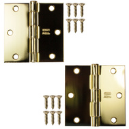 National Hardware S082-060 S821-207 Stanley 3-1/2 Inch Square Corner Door Hinges Polished Brass 2 Pack