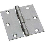 National Hardware S082-090 S821-181 Stanley 3-1/2 Inch Square Corner Door Hinges Satin Chrome 2 Pack