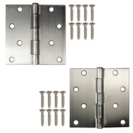National Hardware S083-071 S821-264 Stanley Door Hinges 4 Inch Square Corner Satin Chrome 2 Pack