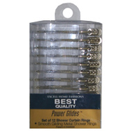 ExCell 1ME-061O0-0066-040 Silver Power Glide Shower Curtain Rings 12 Pack