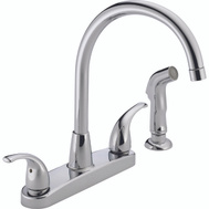 Delta Faucet P299578LF Peerless Kitchen Faucet 2 Lever Handle Hi Arc Swivel Spout With Side Spray Chrome