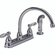 Delta Faucet P299575LF Peerless Kitchen Faucet 2 Handle With Matching Sprayer Chrome