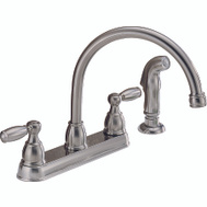 Delta Faucet P299575LF-SS Peerless Kitchen Faucet 2 Lever Handle Hi Arc Swivel Spout With Side Spray Stainless Steel