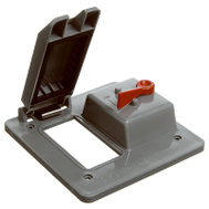 Thomas & Betts E9G2GTNR 2 Gang Weatherproof Vertical Mount Toggle/GFCI Box Cover Gray Lexan