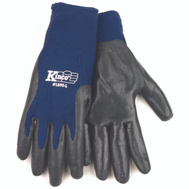 Kinco 1890-L Blue & Gray Nitrile Palm Gripping Knit Gloves Large