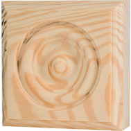 Waddell RTB-35 The Moulding Connection 3 3/4 By 3 3/4 Inch Pine Rosette Block
