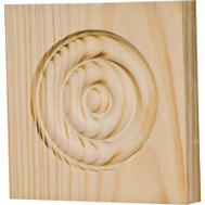 Waddell RTB-35M The Moulding Connection 3-3/4 By 3-3/4 By 3/4 Pine Rosette Block