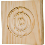 Waddell RTB-35-OAK The Moulding Connection Oak Trim Block Moulding 3-3/4 Inch By 3-3/4 Inch By 1 Inch