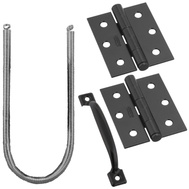 National Hardware N107-409 Screen Door Hinge Set With Spring Pull And Hook/Eye Black