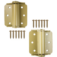 National Hardware N114-785 Surface Spring Hinges 3 Inch Baked Enamel Brass Finish 2 Pack