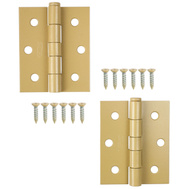 National Hardware N115-477 S939-839 Screen Door Hinges 3 By 2-1/2 Inch Brass Baked Enamel On Steel 2 Pack