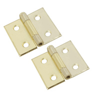 National Hardware N133-603 Surface Mount Cabinet Hinges 1-1/2 Inch Brass Finish Steel 2 Pack