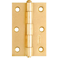 National Hardware N142-067 Removable Pin Narrow Hinges 3 By 2 Inch Brass Finish Steel 2 Pack
