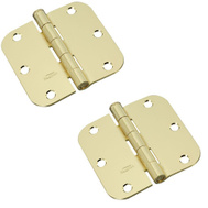 National Hardware N143-362 N189-720 Door Hinges 3-1/2 Inch 5/8 Radius Satin Brass 2 Pack