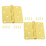 National Hardware N144-832 Door Hinges 4 Inch 1/4 Radius Satin Brass 2 Pack