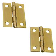 National Hardware N146-175 Non-Removable Fixed Pin Narrow Hinges 2 By 1-9/16 Inch Brass Finish Steel 2 Pack