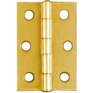 National Hardware N146-290 Non-Removable Fixed Pin Narrow Hinges 2-1/2 By 1-11/16 Inch Brass Finish Steel 2 Pack
