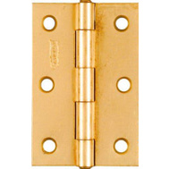 National Hardware N146-399 Non-Removable Fixed Pin Narrow Hinges 3 By 2 Inch Brass Finish Steel 2 Pack