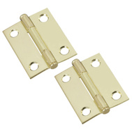 National Hardware N146-639 Loose Pin Cabinet Hinges 2 By 1-9/16 Inch Overall Brass Finish Steel 2 Pack