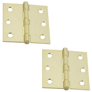 National Hardware N149-104 Loose Button Tip Cabinet Hinges 2-1/2 Inch Brass Plated Steel 2 Pack